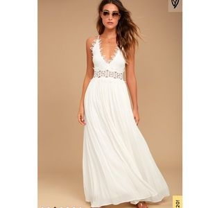 Lulu's This is Love White Lace Maxi Dress